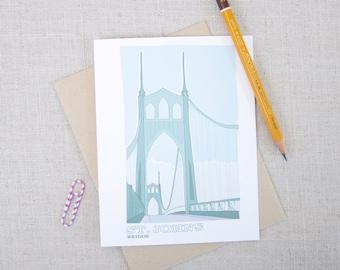 St Johns Bridge Note Card / Portland Bridges Card / Illustrated St Johns Bridge Card / PNW Art Card / Portland Oregon Any Occasion Note Card