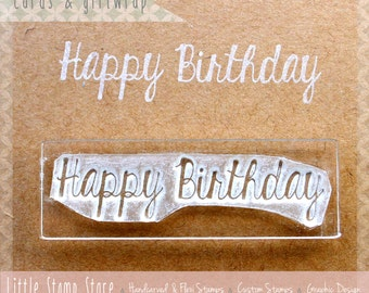 Happy Birthday Stamp - Clear Stamp - Birthday Card - Make Your Own - Birthday Rubber Stamp - Happy Birthday Card - Little Stamp Store