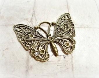 2 Antique Bronze Butterfly Pendants