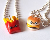 Burger and Fries Best Friend Necklace - BFF Charm Necklaces - Miniature Food Jewelry - Kawaii Best Friends - Graduation Gift - BFF Gift