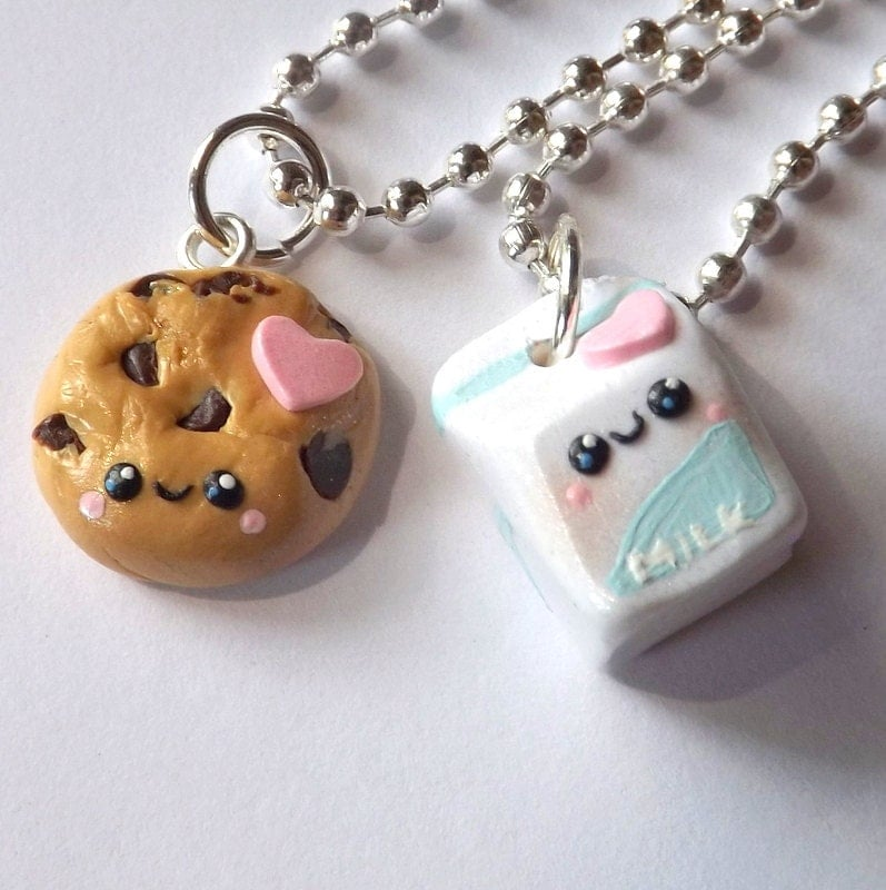 milk and cookies necklace friendship jewelry matching