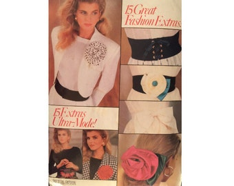"""FREE PATTERNS, 15 Fashion """"Extras"""", Accessories, Belts, Flowers, Butterick 6490"""