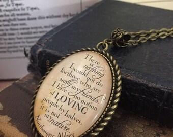 Austen Northanger Abbey Loving by halves literary statement pendant