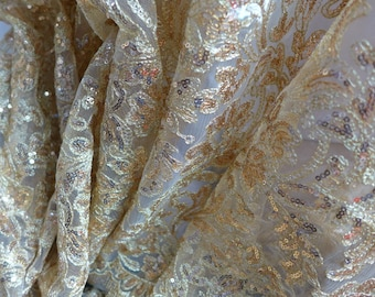 Shiny Sequins Embroidered Fabric in Gold for Wedding, Bridal Dress, Party Decor, Costumes