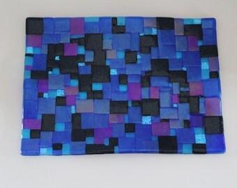 Hues of BLUE Fused Glass Mosaic Sushi Dish