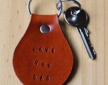 Love You Dad Keychain, Leather Key Chain, Leather Key Fob, Love You Dad Keyring, Handmade Leather Keychain, Dad Keychain,Unique Fathers Gift