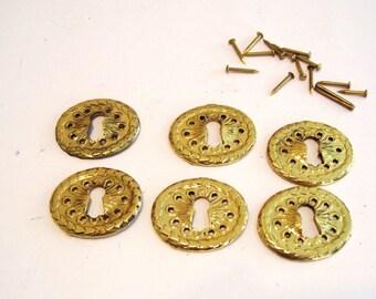 Set of 6 Oval Key Hole Covers Cast Brass Escutcheons Victorian NOS