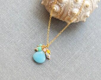 Gold aqua chalcedony gemstone drop necklace, Colorful jades dangle, Sideways cubic zirconia A-196