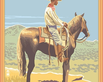 Scipio, Utah - Cowboy Side View (Art Prints available in multiple sizes)