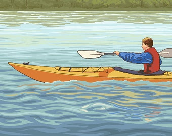 Kayak (Male Version) (Art Prints available in multiple sizes)