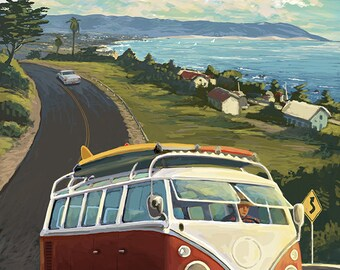 Pismo Beach, California - VW Coastal Drive (Art Prints available in multiple sizes)