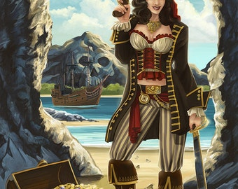 Bermuda - Pirate Pinup Girl (Art Prints available in multiple sizes)
