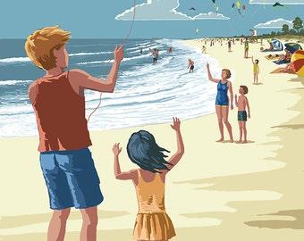 Cape Cod, Massachusetts - Kite Flyers (Art Prints available in multiple sizes)