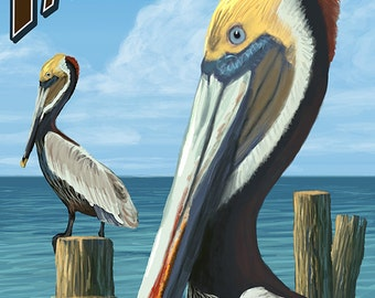 Fairhope, Alabama - Pelican Scene (Art Prints available in multiple sizes)