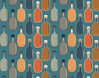 Wine Bottle Pattern (Blue Background) (Art Prints available in multiple sizes)