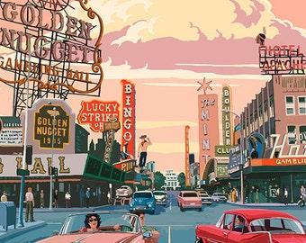 Nevada - Old Strip Scene (Art Prints available in multiple sizes)