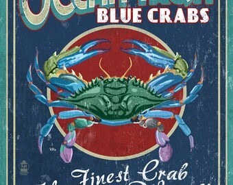 Blue Crabs - Vintage Sign (Art Prints available in multiple sizes)