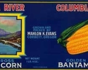 Columbia River Corn Label (Art Prints available in multiple sizes)