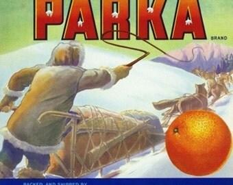 Lindsay, California - Parka Brand Citrus Label (Art Prints available in multiple sizes)