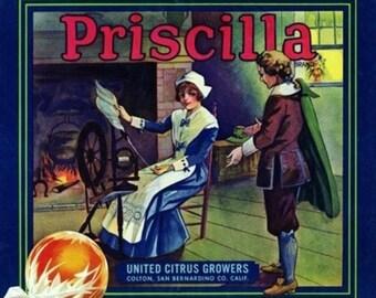 Colton, California - Priscilla Brand Citrus Label (Art Prints available in multiple sizes)