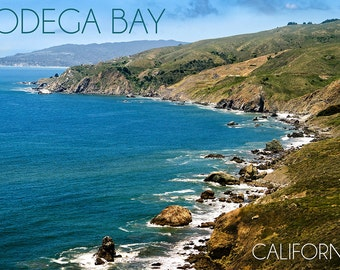 Bodega Bay, California - Ocean and Rocky Coastline (Art Prints available in multiple sizes)