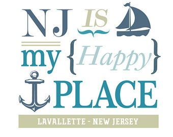 Lavallette, New Jersey - NJ Is My Happy Place (#2) (Art Prints available in multiple sizes)