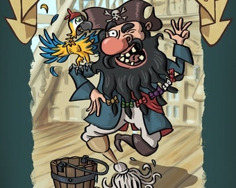 Life of a Pirate - Swabbin' the Deck (Art Prints available in multiple sizes)