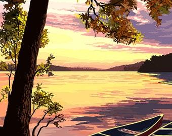 Branson, Missouri - Sunset Scene (Art Prints available in multiple sizes)
