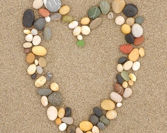 Stone Heart on Sand (Art Prints available in multiple sizes)