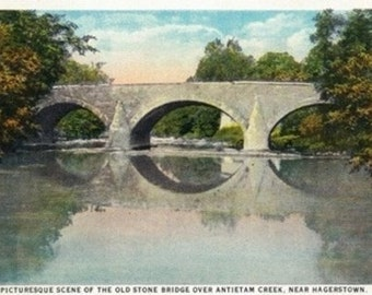 Antietam Creek, Maryland - National Road, Old Stone Bridge near Hagerstown (Art Prints available in multiple sizes)