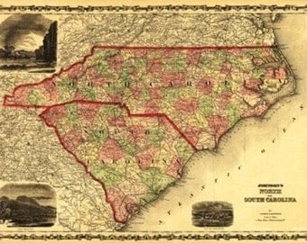 North and South Carolina - Panoramic Map (Art Prints available in multiple sizes)