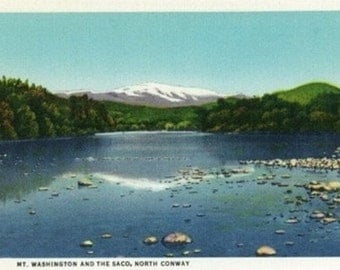 North Conway, New Hampshire - View of Mount Washington and the Saco (Art Prints available in multiple sizes)