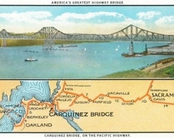 Vallejo, California - Aerial View of the Carquinez Bridge and Map (Art Prints available in multiple sizes)