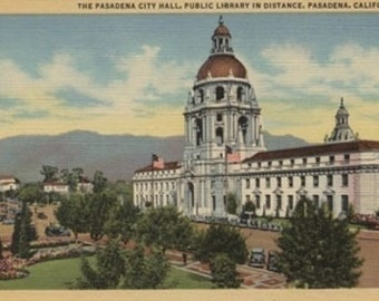 Pasadena, CA - View of City Hall and Public Library (Art Prints available in multiple sizes)