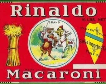 Rinaldo Macaroni Label (Art Prints available in multiple sizes)