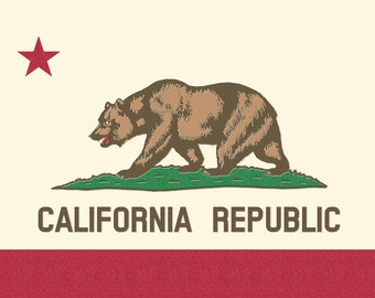 California State Flag - Letterpress (Art Prints available in multiple sizes)