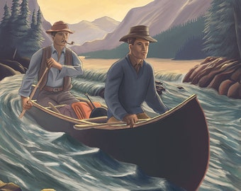 Sequoia National Park - Canoe in Rapids (Art Prints available in multiple sizes)