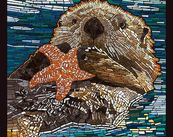 Sea Otter - Paper Mosaic (Art Prints available in multiple sizes)