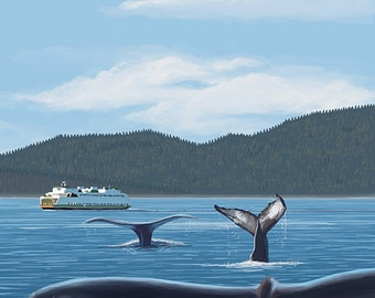 Orcas Island, WA - Whales and Ferry (Art Prints available in multiple sizes)