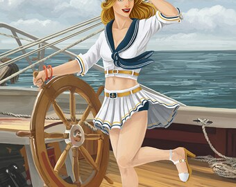Tampa, Florida - Pinup Girl Sailing (Art Prints available in multiple sizes)