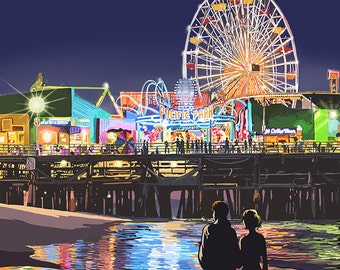 Santa Monica, California - Pier at Night (Art Prints available in multiple sizes)