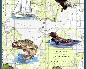 Crooked Lake, Michigan - Nautical Chart (Art Prints available in multiple sizes)