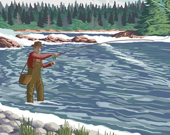 Blue River, Colorado - Fisherman Wading (Art Prints available in multiple sizes)