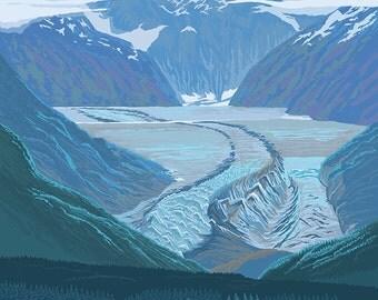 Glacier Bay, AK - Glacier Scene (Art Prints available in multiple sizes)