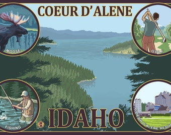 Coeur D' Alene, Idaho (Art Prints available in multiple sizes)