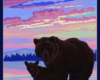 Bear and Cub - Ketchikan, Alaska (Art Prints available in multiple sizes)