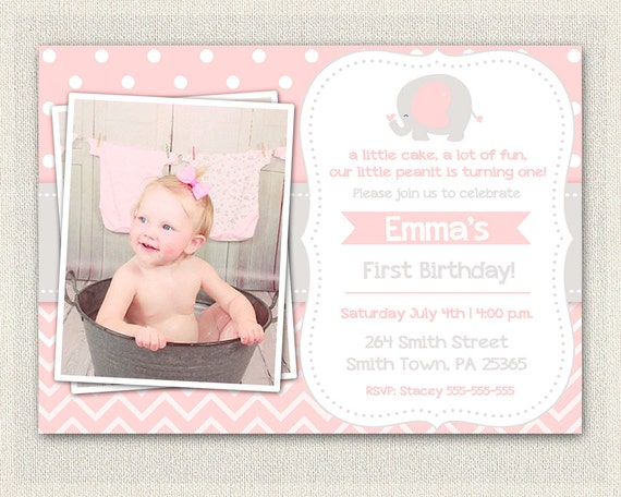 Pink and gray elephant birthday invitation girls pink 1st 2nd 3rd il570xn filmwisefo