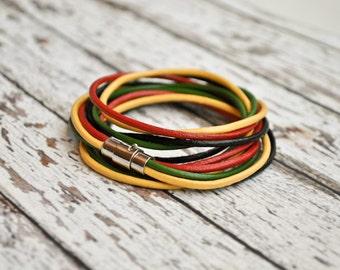 Leather wrap Rasta bracelet | Costa Rica bracelet | Costa rican jewelry | rasta jewelry | rastafari jewelry | pulsera rasta | rasta armband