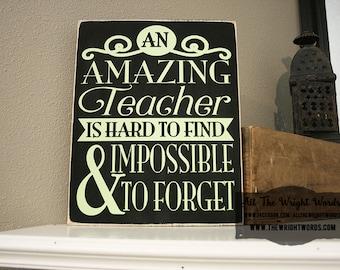 """12x14"""" An Amazing Teacher Wood Sign"""