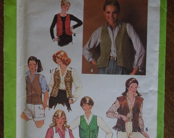 Simplicity 8980, size 12, misses, womens, teens, vests, UNCUT sewing pattern, craft supplies
